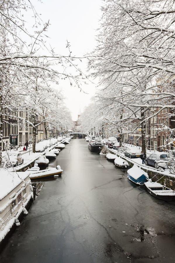 阿姆斯特丹在de winter,阿姆斯特丹在冬天 图库摄影