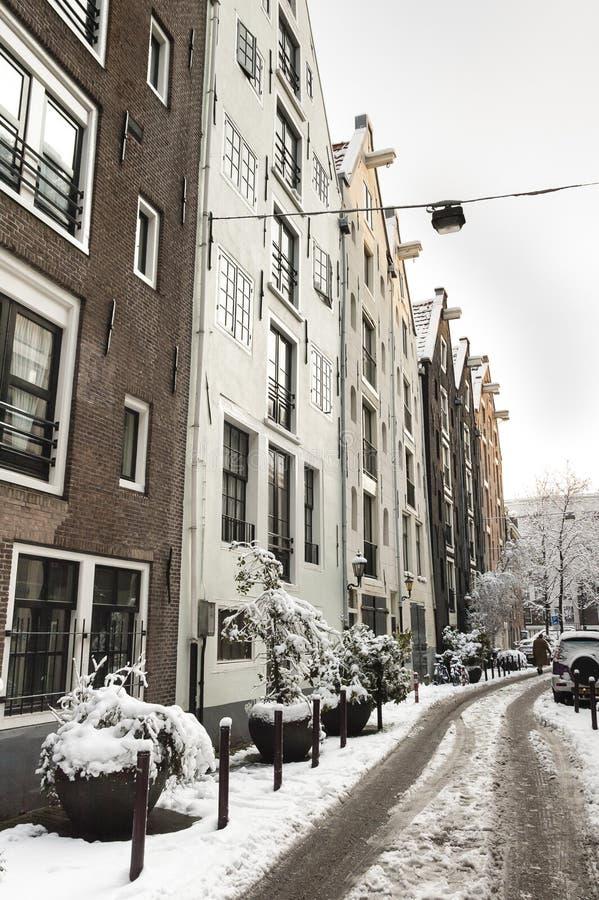 阿姆斯特丹在de winter,阿姆斯特丹在冬天 免版税库存图片