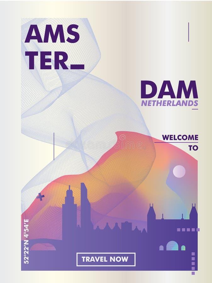 阿姆斯特丹地平线梯度传染媒介海报 库存例证
