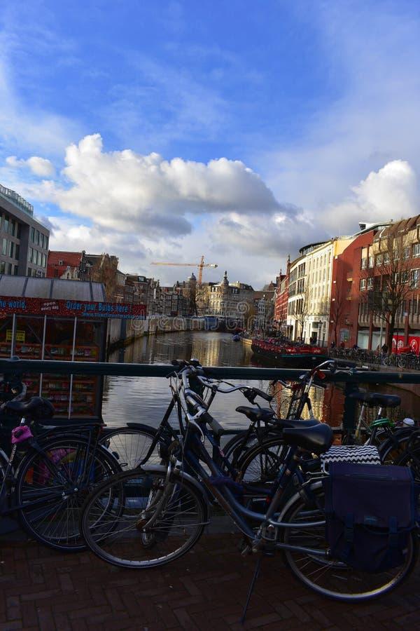 阿姆斯特丹是最自行车友好的首都在世界上 库存图片