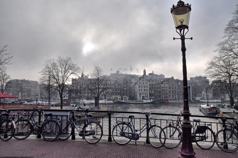 阿姆斯特丹渠道 步行在阿姆斯特丹 库存照片