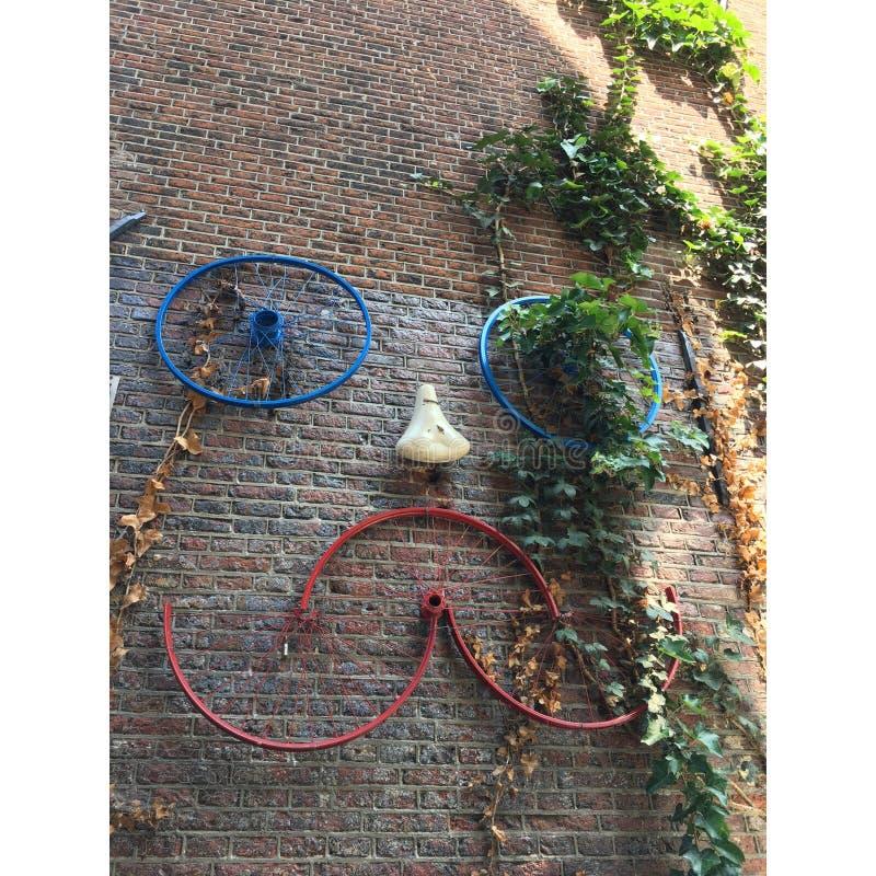 阿姆斯特丹艺术自行车面孔 免版税库存照片