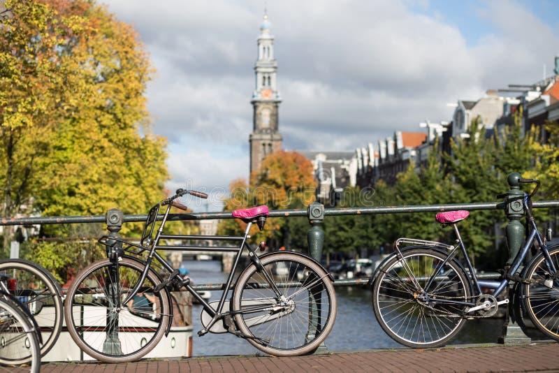 阿姆斯特丹荷兰荷兰房子、开花的花和自行车临近著名联合国科教文组织世界遗产运河Singel 库存图片