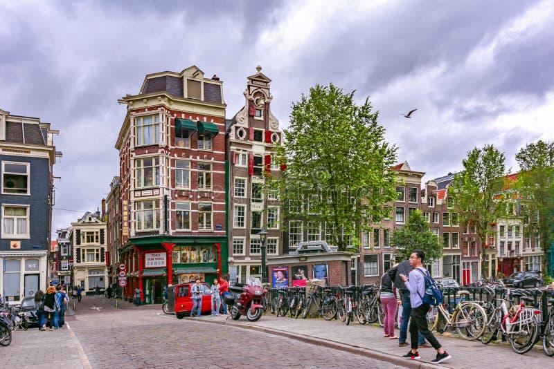 阿姆斯特丹街道和建筑学,荷兰 免版税库存图片