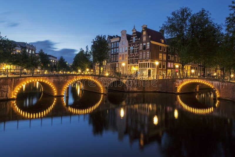 阿姆斯特丹运河在夜之前 免版税库存图片