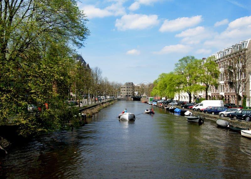 阿姆斯特丹运河在荷兰 免版税库存图片