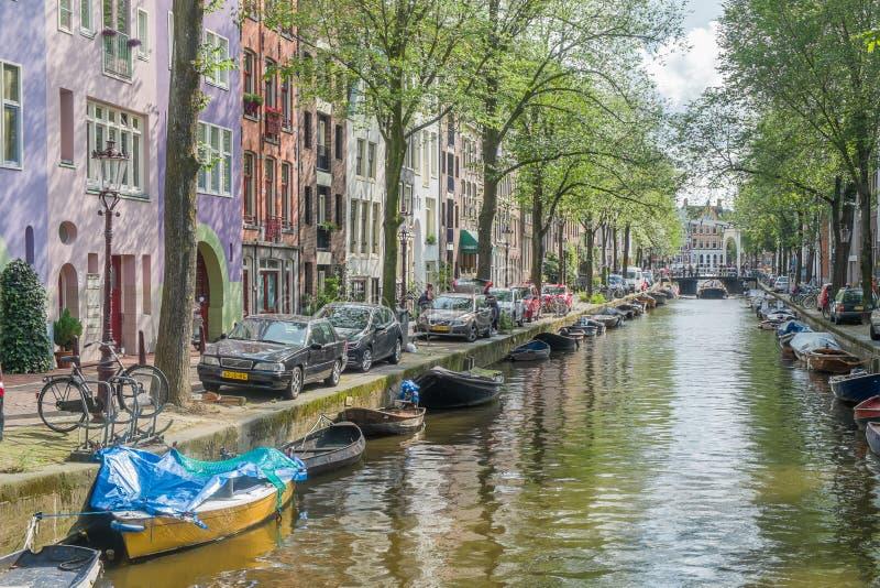 阿姆斯特丹运河场面,荷兰 图库摄影