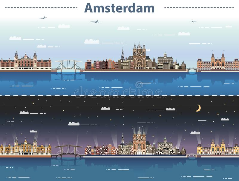 阿姆斯特丹都市风景的传染媒介例证在日夜 向量例证