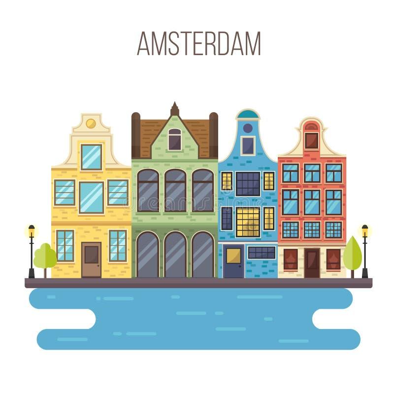 阿姆斯特丹都市风景的传染媒介例证 免版税库存图片