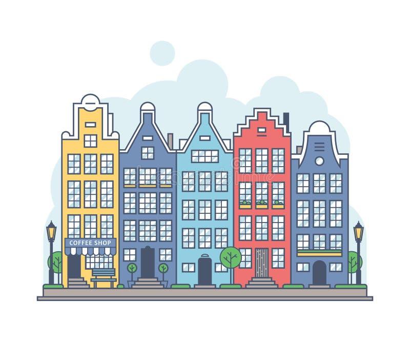 阿姆斯特丹都市风景 库存例证
