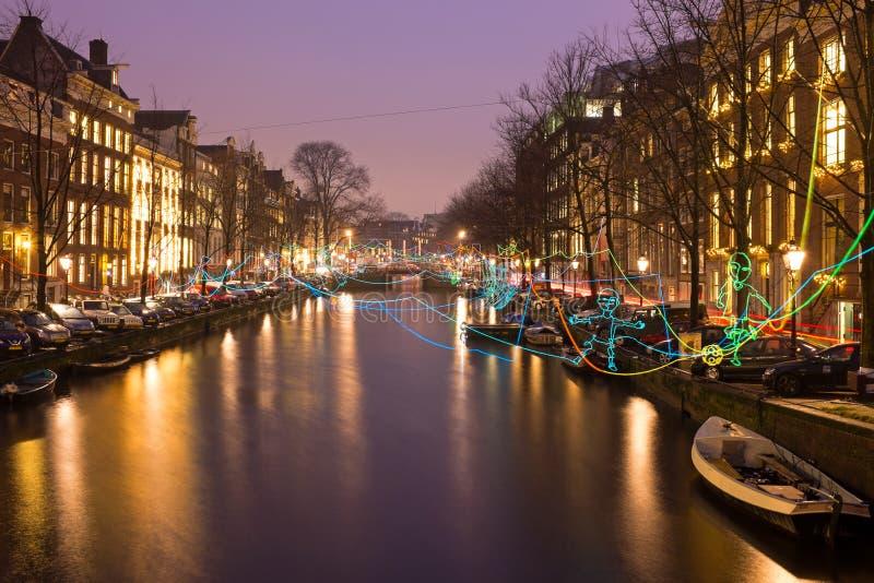 阿姆斯特丹,荷兰- 2016年1月4日:轻的节日 免版税库存图片