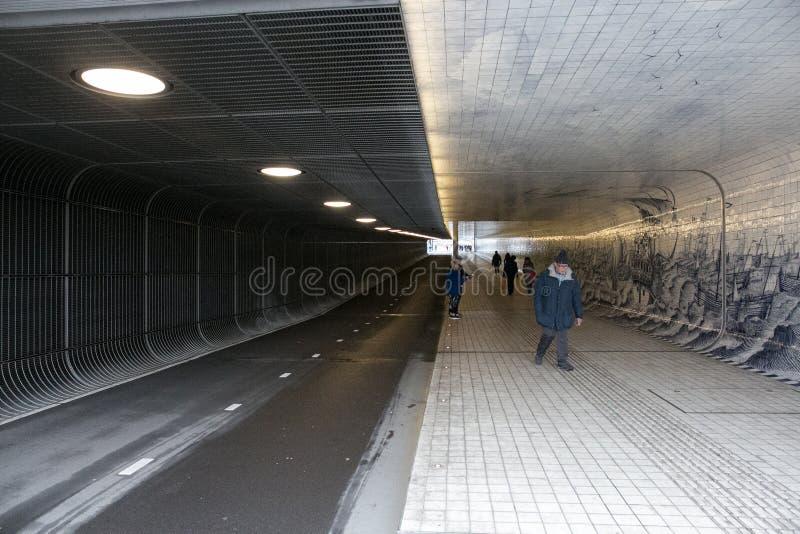 阿姆斯特丹ceentral staion隧道 库存照片