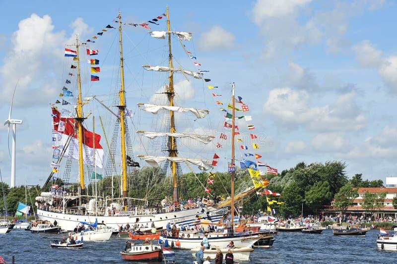 阿姆斯特丹dewaruci印度尼西亚风帆 免版税库存照片