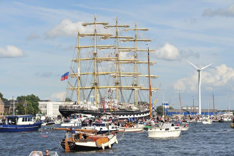 阿姆斯特丹kruzenshtern俄国风帆 库存图片