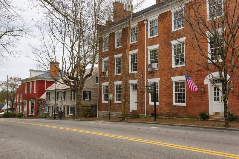 阿宾登维吉尼亚市中心的历史区 库存照片