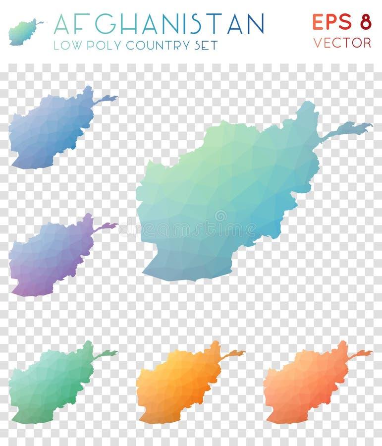 阿富汗几何多角形地图,马赛克 皇族释放例证