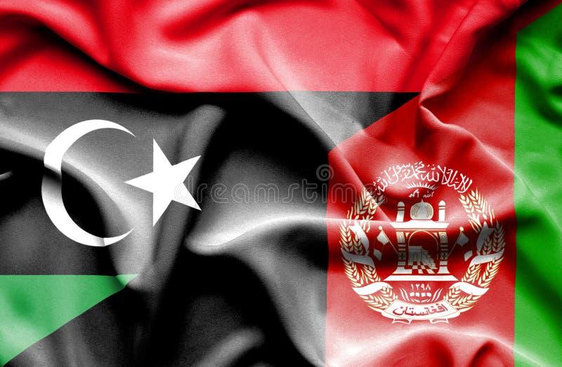 阿富汗和利比亚的挥动的旗子 向量例证