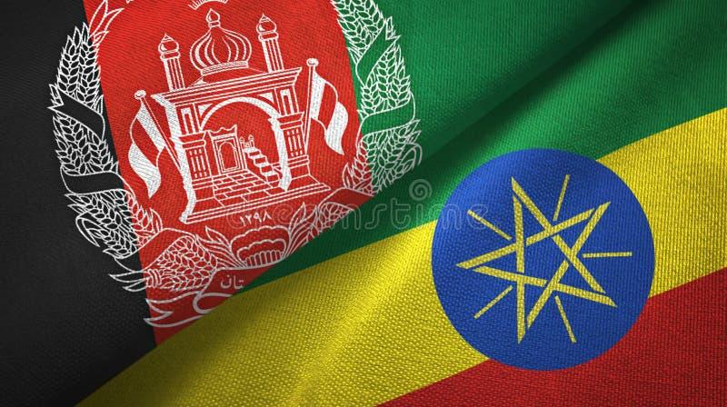阿富汗和埃塞俄比亚两旗子纺织品布料,织品纹理 皇族释放例证