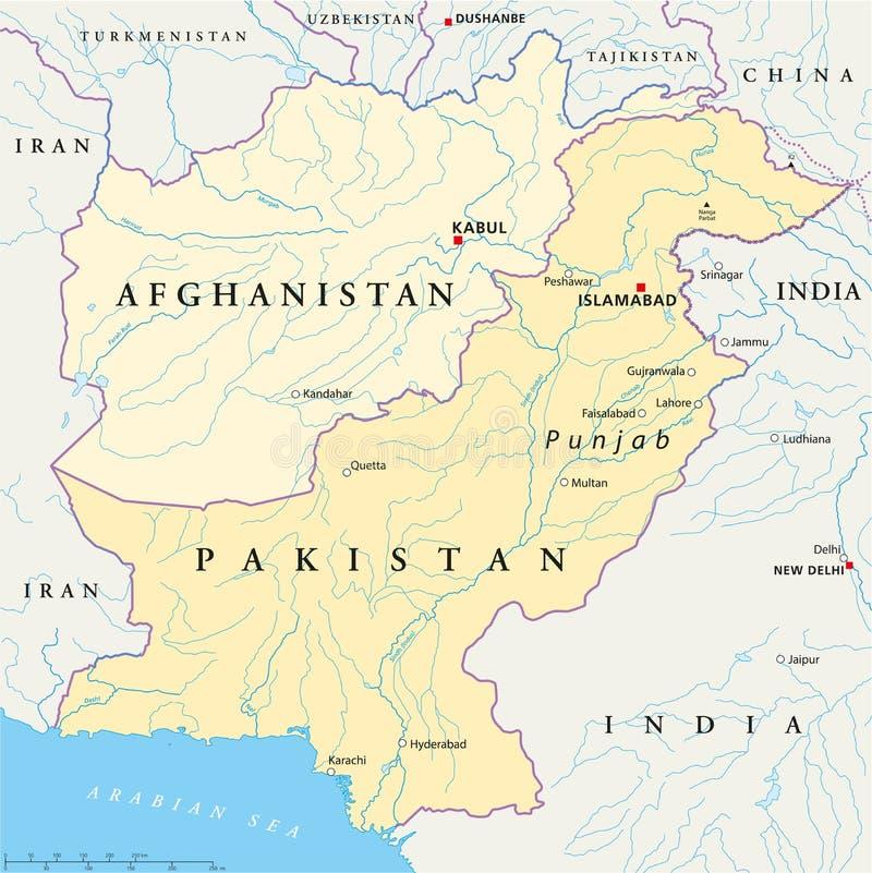 阿富汗和巴基斯坦政治地图 皇族释放例证