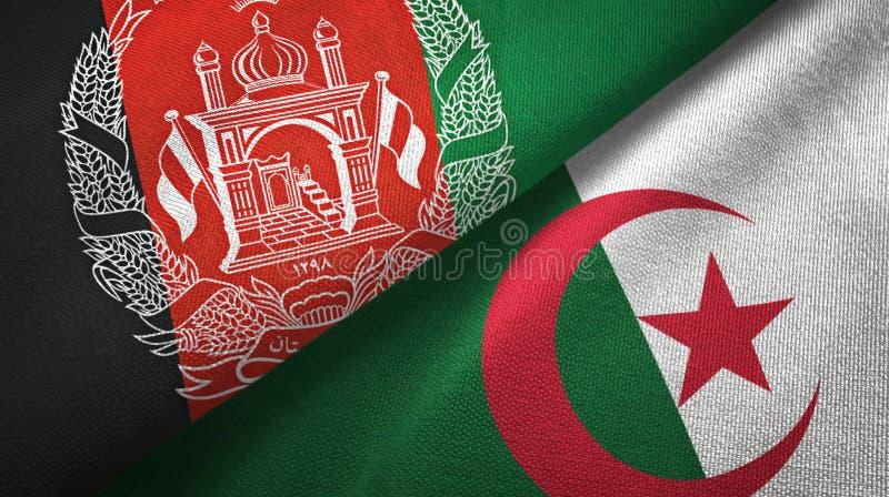 阿富汗和阿尔及利亚两旗子纺织品布料,织品纹理 库存例证