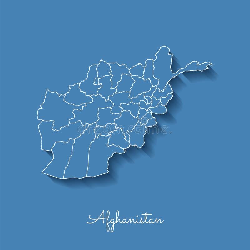 阿富汗地区地图:与白色概述的蓝色 向量例证