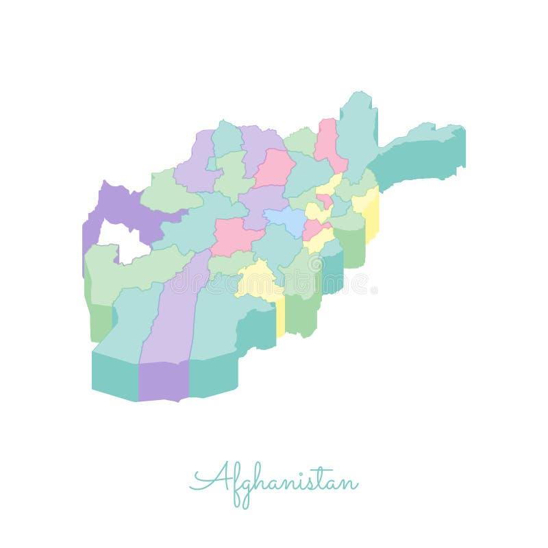 阿富汗地区地图:五颜六色的等量上面 向量例证