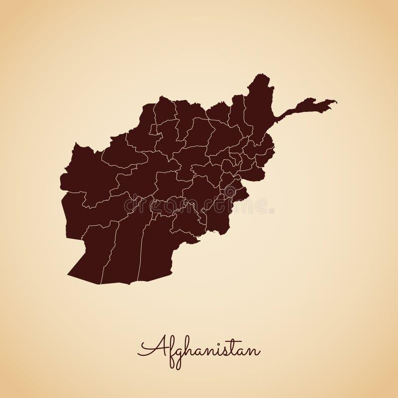 阿富汗地区地图:减速火箭的样式褐色概述 皇族释放例证