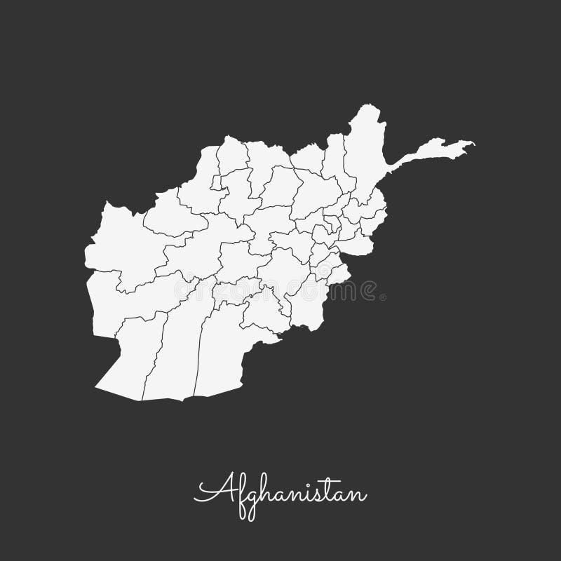阿富汗地区地图:在灰色的白色概述 向量例证