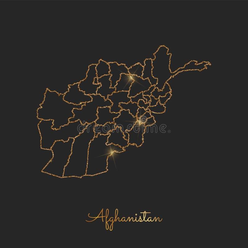 阿富汗地区地图:金黄闪烁概述 库存例证