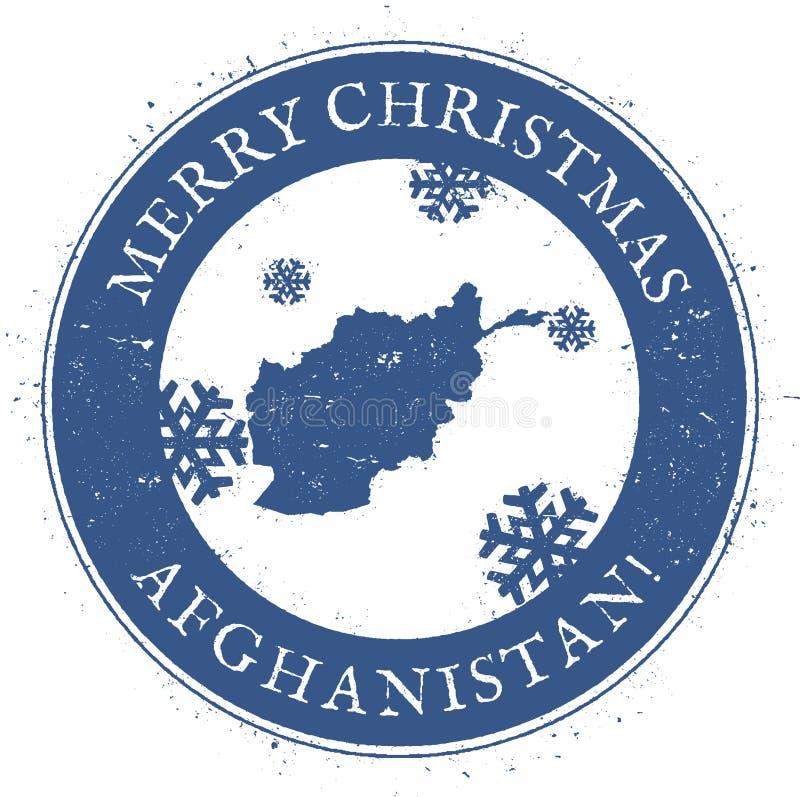 阿富汗地图 葡萄酒圣诞快乐 向量例证