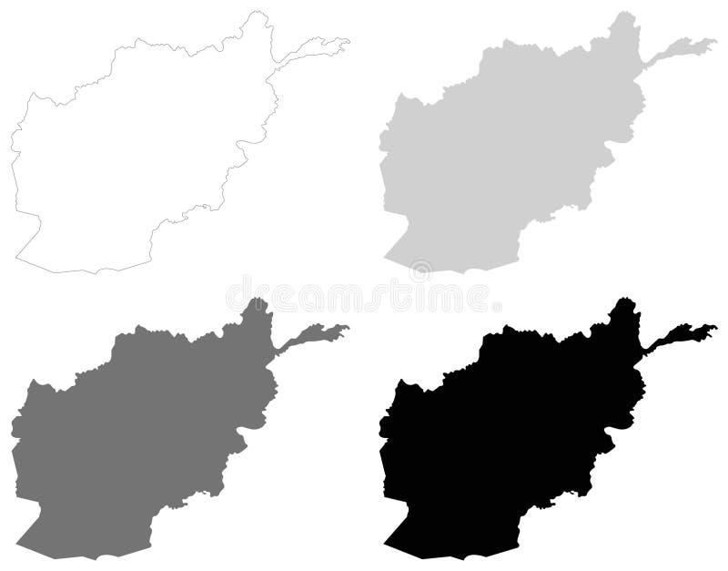阿富汗地图-阿富汗,国家的伊朗伊斯兰共和国位于在中南部的亚洲 向量例证