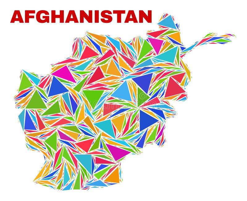 阿富汗地图-颜色三角马赛克  库存例证