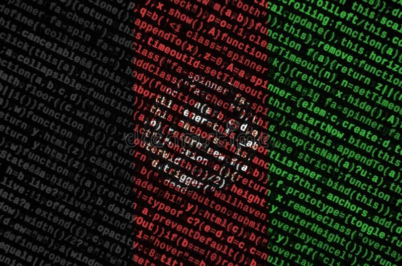 阿富汗旗子在有节目代码的屏幕上被描述 现代技术和地点发展的概念 皇族释放例证