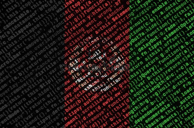 阿富汗旗子在有节目代码的屏幕上被描述 现代技术和地点发展的概念 库存例证