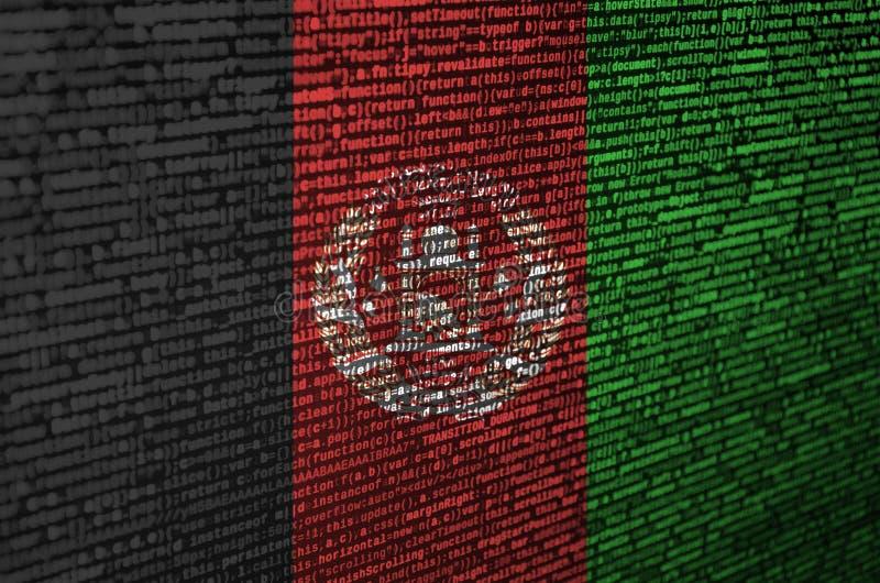 阿富汗旗子在有节目代码的屏幕上被描述 现代技术和地点发展的概念 向量例证