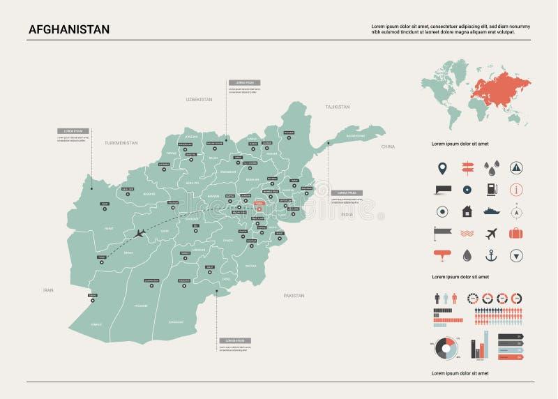 阿富汗映射向量 与分裂、城市和首都喀布尔的高详细的国家地图 政治地图,世界地图, 库存例证