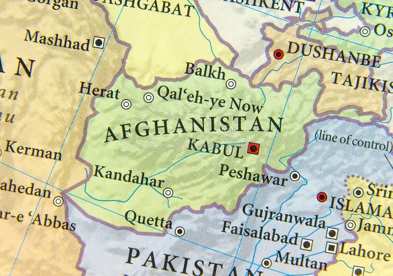 阿富汗的地理地图有重要城市的 免版税库存图片