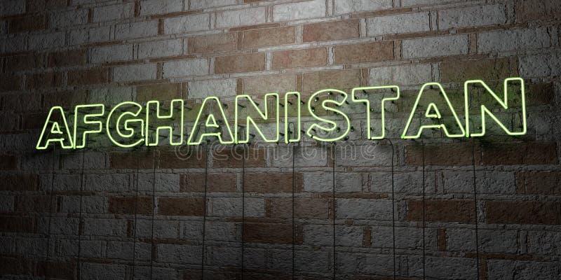 阿富汗-在石制品墙壁上的发光的霓虹灯广告- 3D回报了皇族自由储蓄例证 库存例证