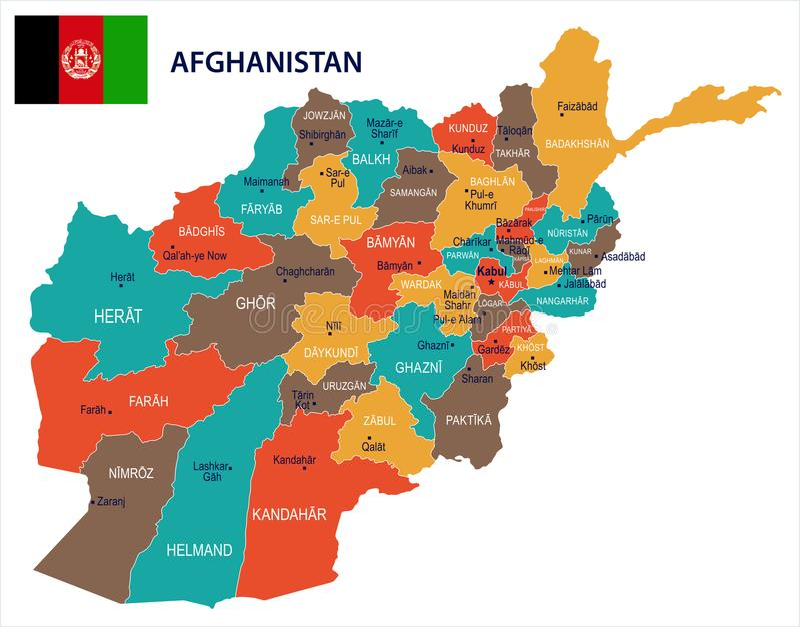 阿富汗-地图和旗子详细的传染媒介例证图片