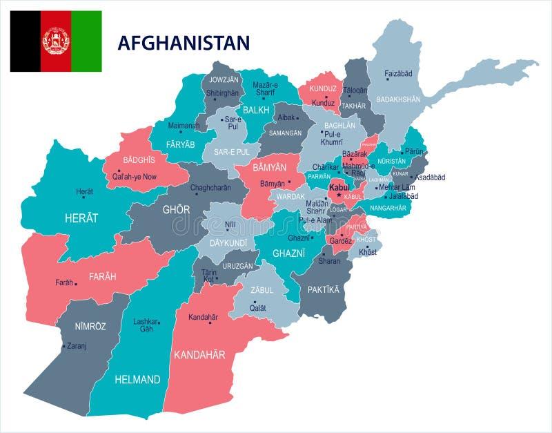 阿富汗-地图和旗子-详细的传染媒介例证. 灰色, 详细.图片