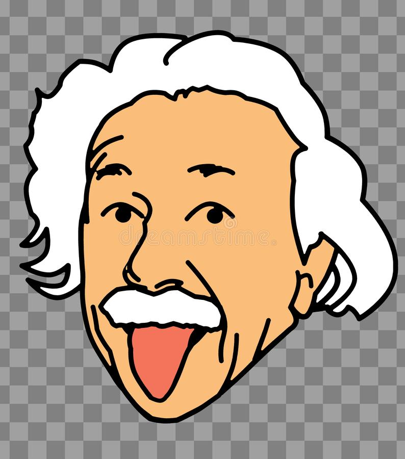 阿尔伯特・爱因斯坦舌头面孔例证 皇族释放例证