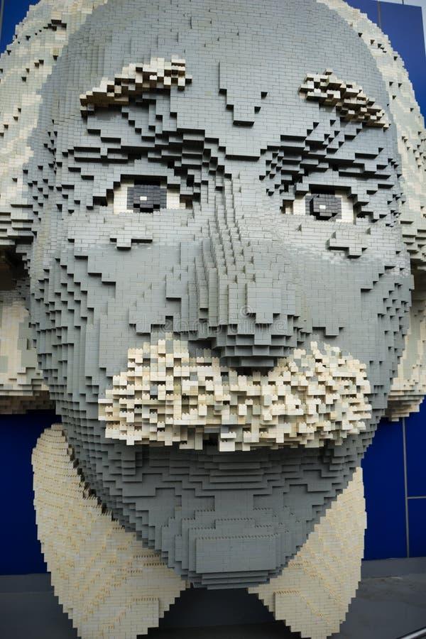 阿尔伯特・爱因斯坦在Legoland的lego模型 免版税库存照片
