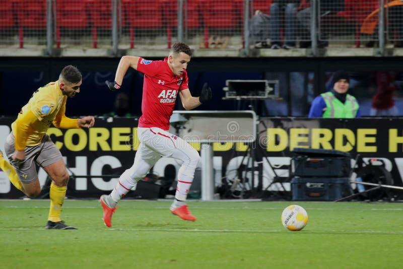 阿尔克马尔,荷兰,2018年12月15日足球选手乌萨马Idrissi AZ 免版税库存照片