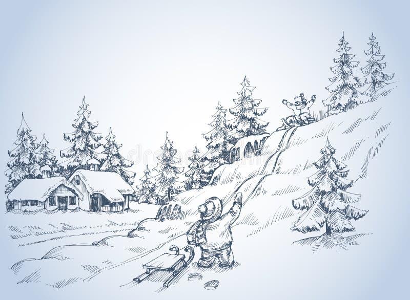 阿尔卑斯包括房子场面小的雪瑞士冬天森林 向量例证