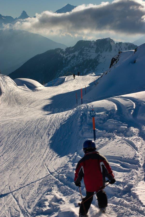 阿尔卑斯图象sceninc滑雪瑞士 免版税库存照片