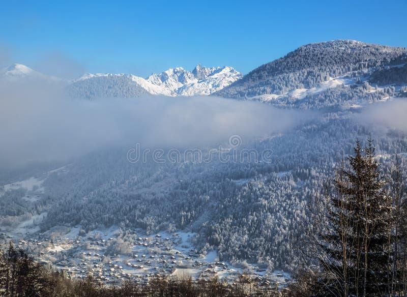 阿尔卑斯在冬天 库存照片