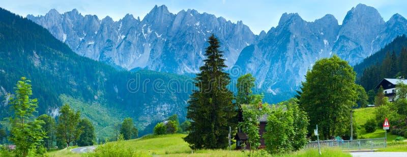 阿尔卑斯奥地利国家(地区)全景夏& 库存照片