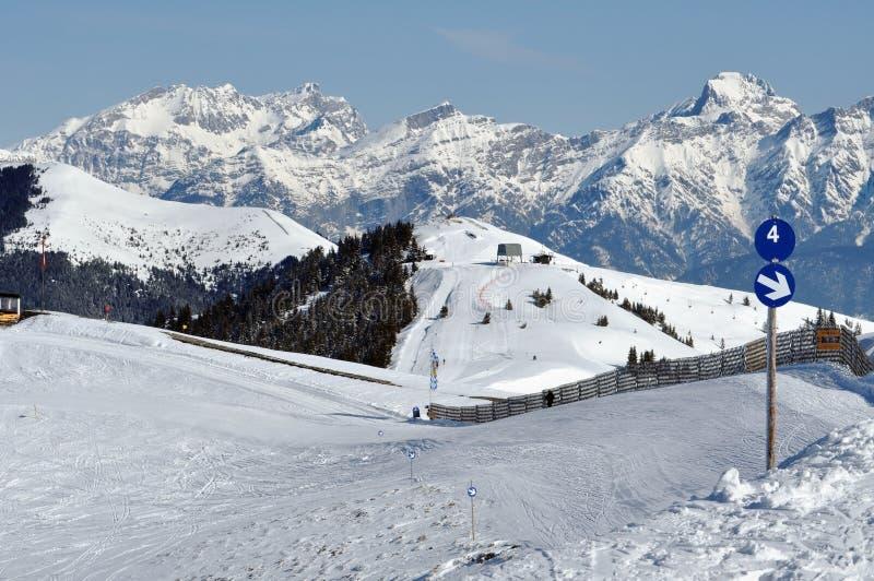 阿尔卑斯奥地利手段看到滑雪冬天zell 图库摄影
