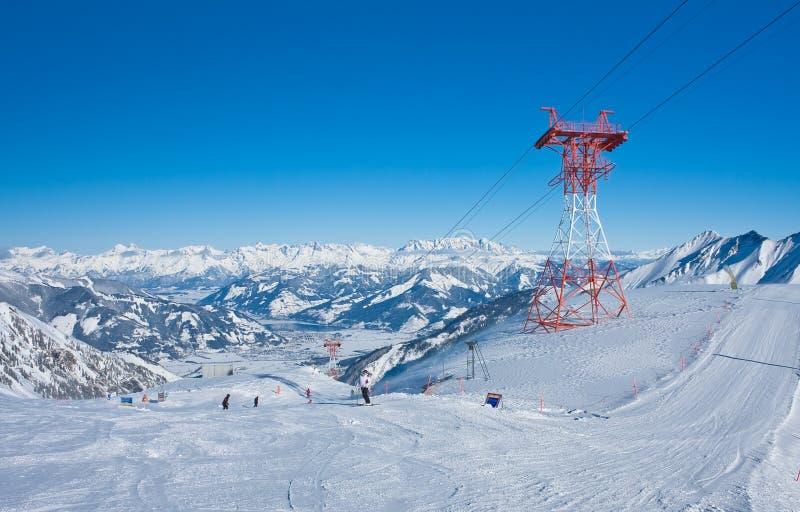阿尔卑斯奥地利kaprun手段滑雪 库存照片
