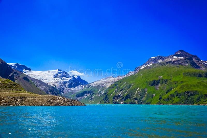 阿尔卑斯奥地利kaprun看见滑雪倾斜zell 免版税库存照片